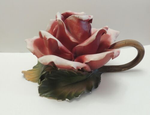Unique vintage toleware rose candle holder from Italy