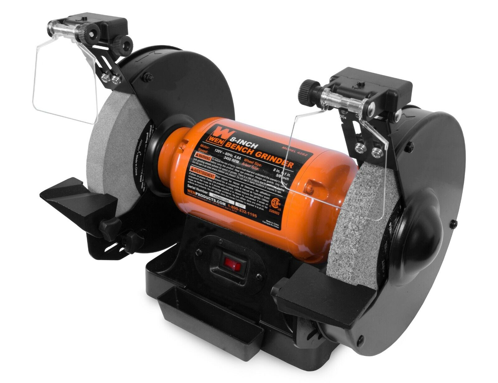 4.8-Amp 8-Inch Bench Grinder with Led Work Lights and Quench