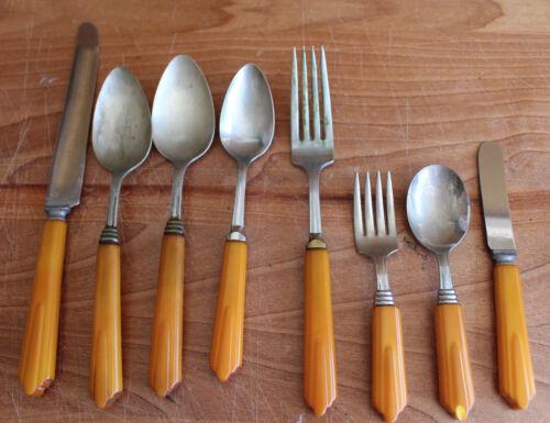 8 Piece Vintage Flatware Silverware Butterscotch Yellow Bakelite Handle Rustless