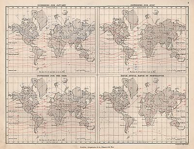 1889 ANTIQUE MAP WORLD SEASONAL ISOTHERMS RANGE OF TEMPERATURES