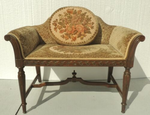 Small Antique Victorian Solid Mahogany Crushed Velvet Bench Loveseat Settee