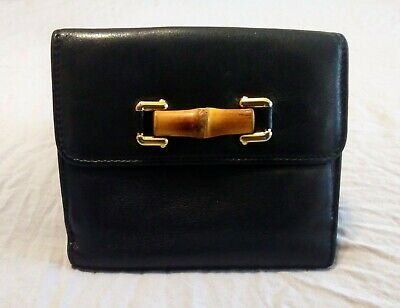 Gucci Bamboo Black Leather Wallet Purse Gold Hardware * Authentic * GUC *