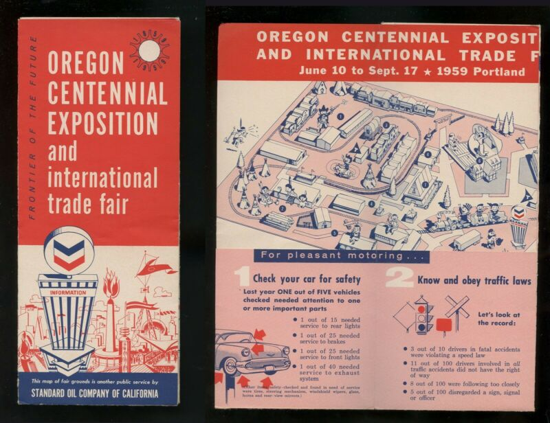 1959 Oregon Centennial Expo Map w/ legend Chevron Standard Oil Advertising