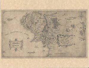 lord of the rings hobbit map of middle earth mordor flyer prop