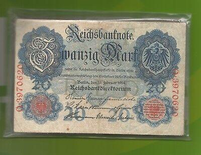 50 Stück-Geldscheine-20 Mark-Deutsches Reich-Berlin-19.2.1914-Banknoten