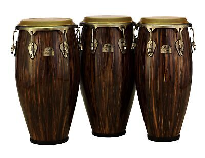 Pearl Elite Series Wood-Fiber Maduro Brown Lacquer 3pc Conga Set: 11/11.75/12.5""