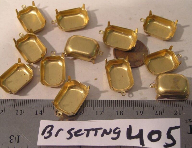 12 Vtg Brass 18x13 mm Dangle Rhinestone setting 4 Prong Jewelry Findings Lot