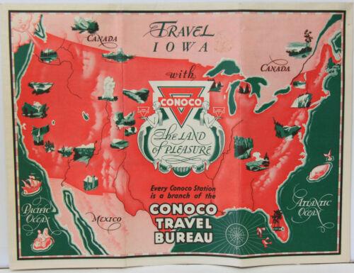 1930s Conoco Travel Bureau Road Map of Iowa w/ US Map & 4 Cities