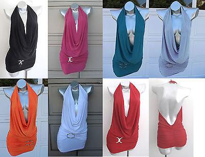 PLAIN Halter Neck Open Back Deep V Neck Sexy Show Off Club Party Mini Dress SML Deep V-neck Halter Dress