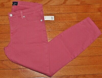 NWT Womens GAP Denim Legging Ankle Skimmer Jeans Pink Raw Hem Jeggings $69