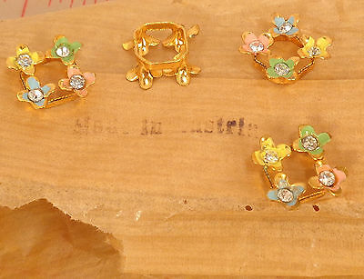 4 vintage metal squares with colorful flowers rhinestone centers Austria 18mm