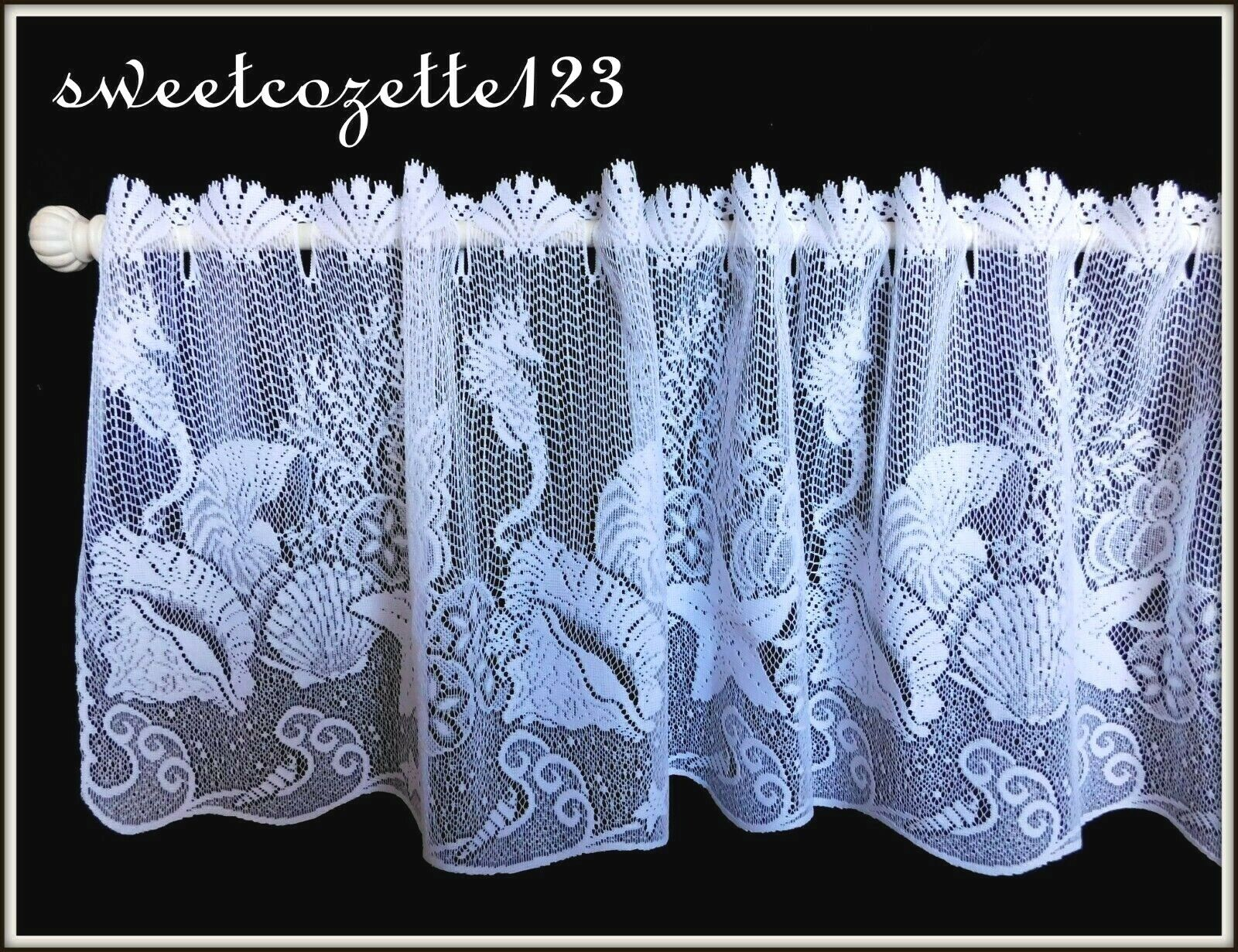 "Heritage Lace White SEASCAPE Window Tier 60""Wx24""L"