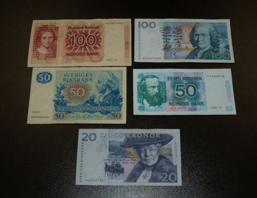 Two Norway Banknotes and 3 Swedish Notes - 20, 50 and 100 Kroner Notes!
