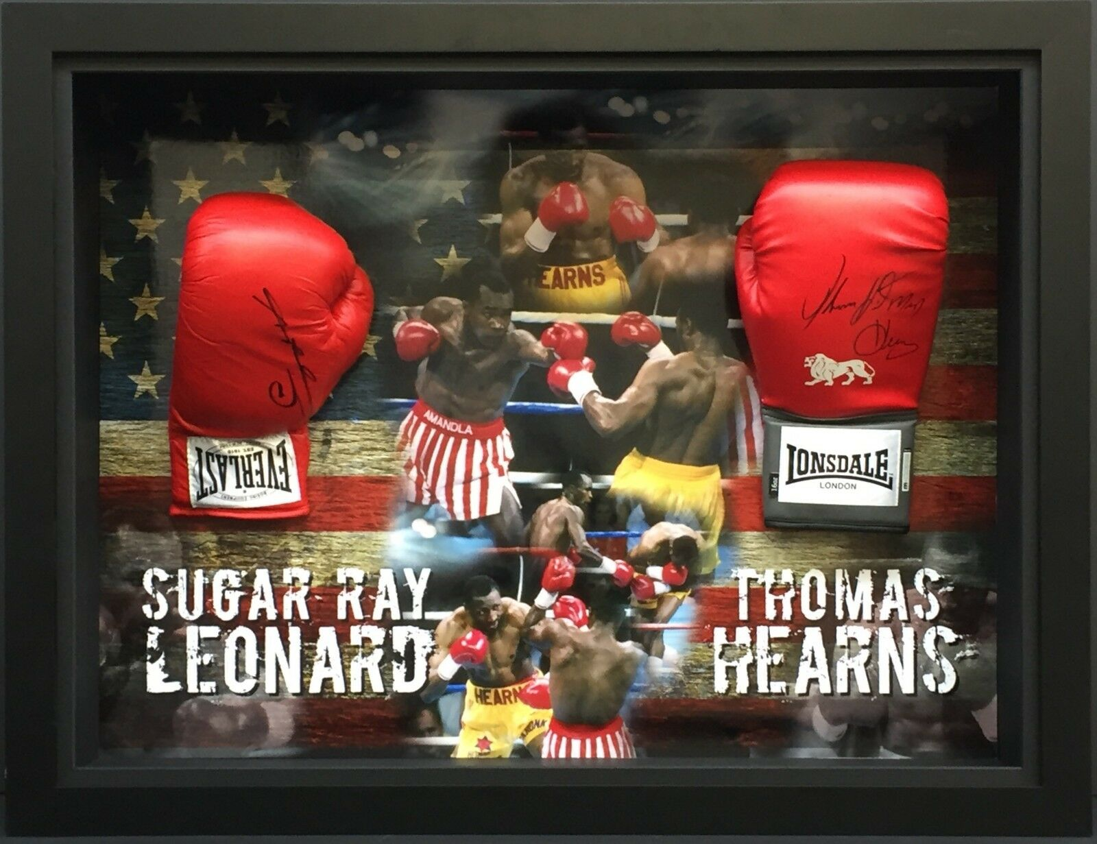 Details about Sugar Ray Leonard & Thomas Hearns Hand Signed Double Boxing Glove Display FRAMED