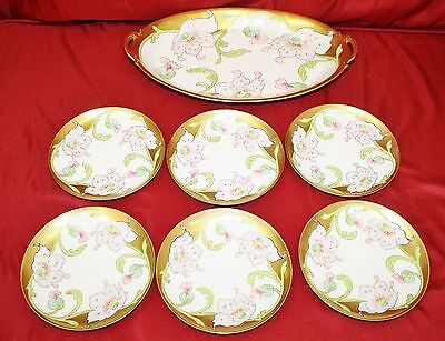 Beautiful Antique Hand Painted 7 Pc. Limoges Dessert Gold Set - Signed T. Luc Hand Painted Dessert