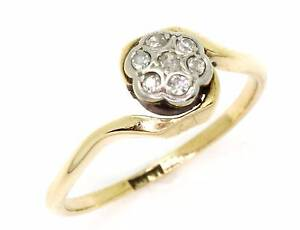 18ct Yellow Gold Seven Diamond Vintage Ladies Ring - Size M Perth Perth City Area Preview