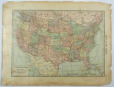 United States & Maine Original Antique 1918 Double Sided Hammond Engraved Maps