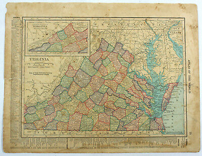 Virginia & West VA Original Antique 1918 Double Sided Hammond Engraved Maps