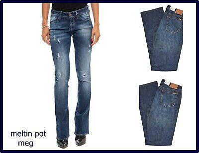 jeans da donna meltin pot elasticizzati a vita bassa zampa bootcut campana w27
