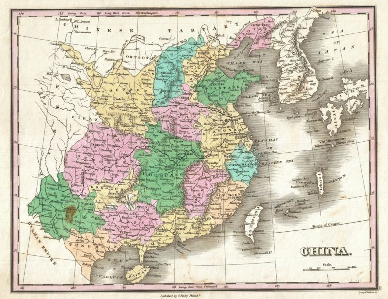 1827 Finley Map of  China