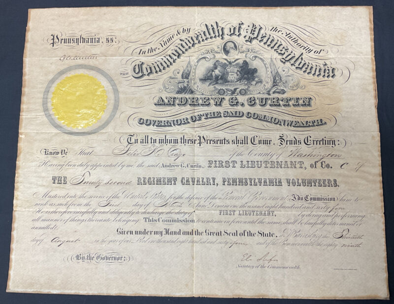 Civil War 22nd Pennsylvania Cavalry Promotion Signed By Governor Andrew G Curtin