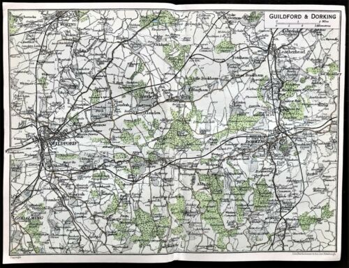 Antique Color Map : GUILDFORD & DORKING, ENGLAND : 100% AUTHENTIC 1930 MAP Rare