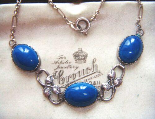 ANTIQUE ART NOUVEAU ARTS AND CRAFTS  STERLING SILVER BLUE Glass Vintage NECKLACE