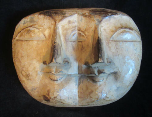 Double Face Two Faces Indonesian Wood Carved Wall Hanging