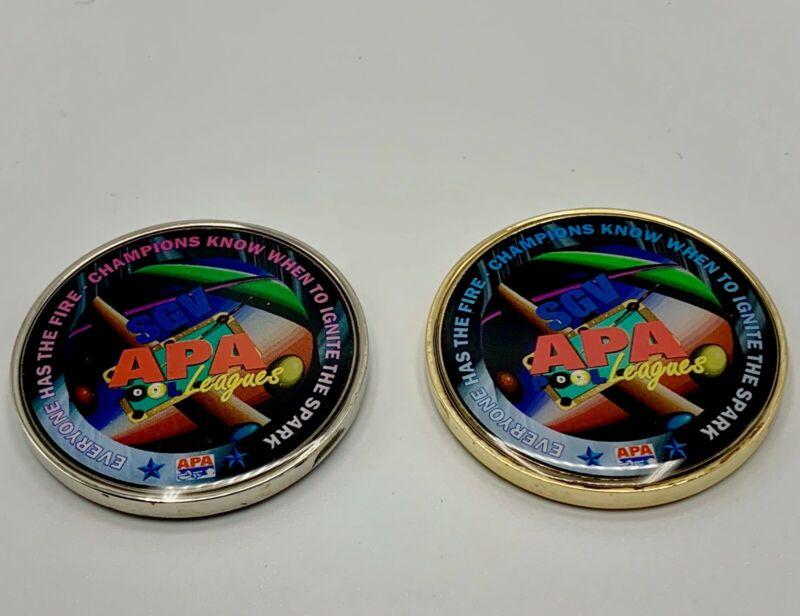 Themed apa pool billiard league challenge coins (pocket marker)