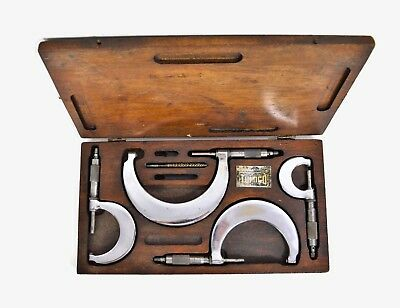Vintage Tumico Tubular 4 Piece Micrometers With Feather Touch In Wooden Case