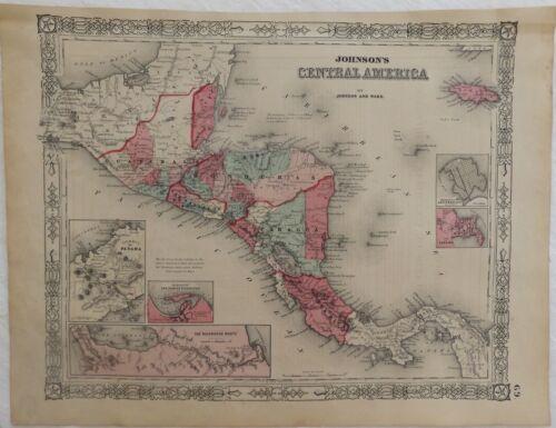 "1864 Civil War Era ""Central America"" Johnsons Antique Map Atlas"