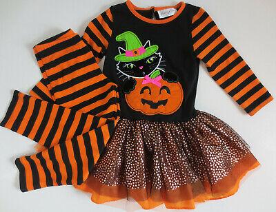 Cat Halloween Outfit (Emily Rose Toddler Girls Size 3T 2-Piece Outfit Fall Halloween Pumpkin)