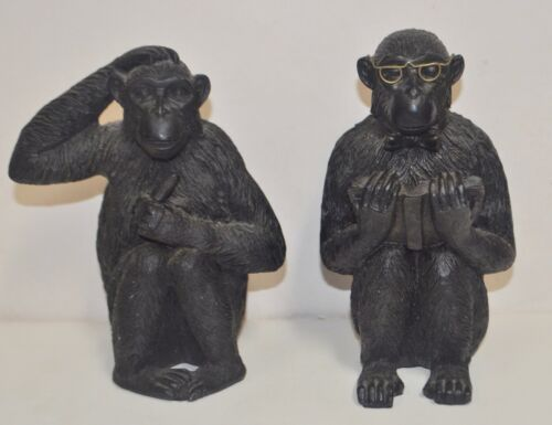 Pair of Silvestri Chimpanzee Monkey Figurines or Bookends