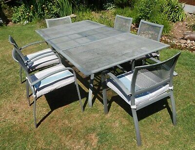 7 Piece Metal Garden Patio Furniture Set - Grey