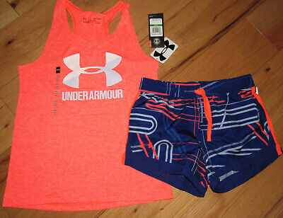Under Armour heathered logo tank top & patterned shorts NWT girls'  L YLG Girl Logo Tank