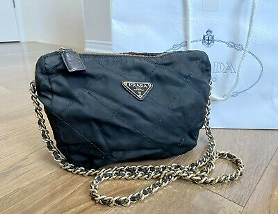 AUTH VINTAGE PRADA QUILTED BLACK NYLON BAG w/ LEATHER LACED CHAIN NR