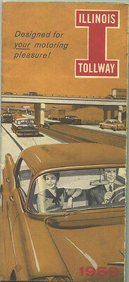 1959 Illinois Tollway Brochure And Map   Nice Cover Graphics