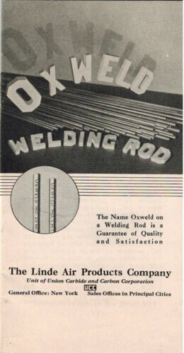 1933 OXWELD Welding Rod, Linde Air Products, Oxy-Acetylene Welds Welder Booklet