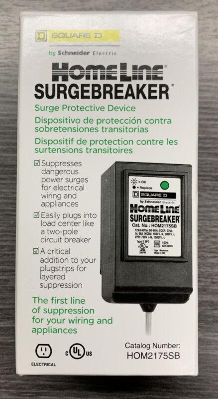 SQUARE D Homeline AC Power Surge Protector Device Surgebreaker HOM2175SB