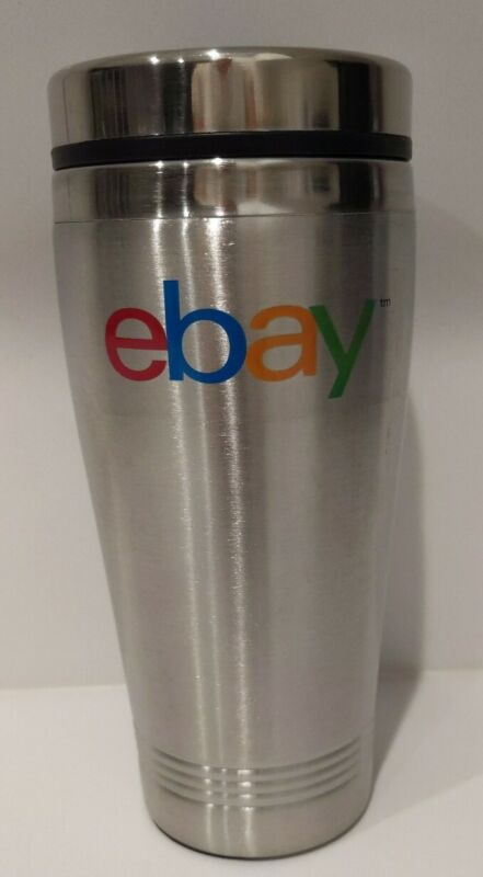eBay Logo Silver Insulated Coffee Travel Tumbler with Lid stainless steel NEW