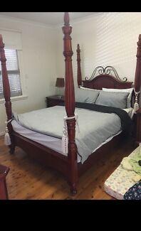 4 piece wooden 4 poster bedroom suite - QUICK SALE
