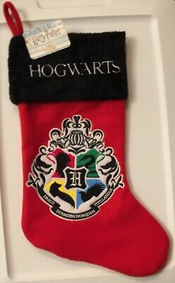 Harry Potter Hogwarts Crest Red Christmas Stocking Plush Embroidered Applique