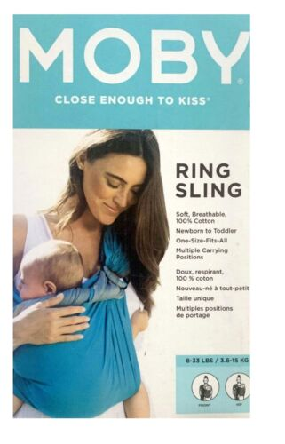 M.O.B.Y Ring Sling Baby Cotton Carrier (Ocean Twist) 8-33 lbs Front/Hip Carry