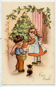 Kids Art Boy & Girl with Black Cat Big Xmas Tree Vintage PC Circa 1930 C - Italia - Kids Art Boy & Girl with Black Cat Big Xmas Tree Vintage PC Circa 1930 C - Italia