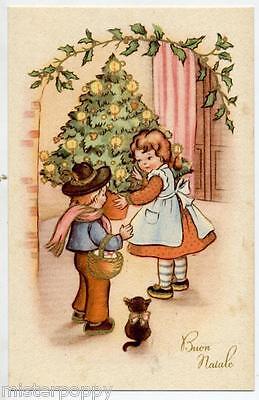 Bambini con Albero di Natale Doni Gatto Nero Childrens Xmas PC Circa 1930 Italy