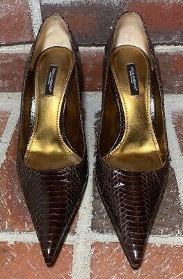 Dolce & Gabbana Brown Glossy Snakeskin Pumps - Women's Size 38(EUR)