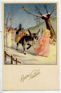 Cute Baby Angels with Donkey full of Packets Xmas Gold Vintage PC Circa 1930 - Italia - Cute Baby Angels with Donkey full of Packets Xmas Gold Vintage PC Circa 1930 - Italia