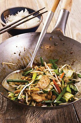 """Chinese Wok 16"""" Stainless Steel Pan with Wooden Handle Frying Skillet Cooking"""