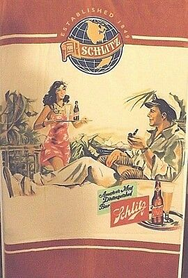 NEW 60X28 INCH  YELLOW AND RED SCHLITZ  BEER  HOT HULA GIRL BEACH TOWEL