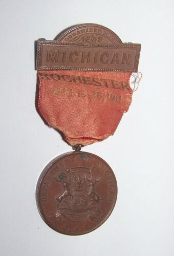 1911 ANTIQUE CIVIL WAR ROCHESTER MICHIGAN DEPARTMENT of GAR  MEDAL BADGE